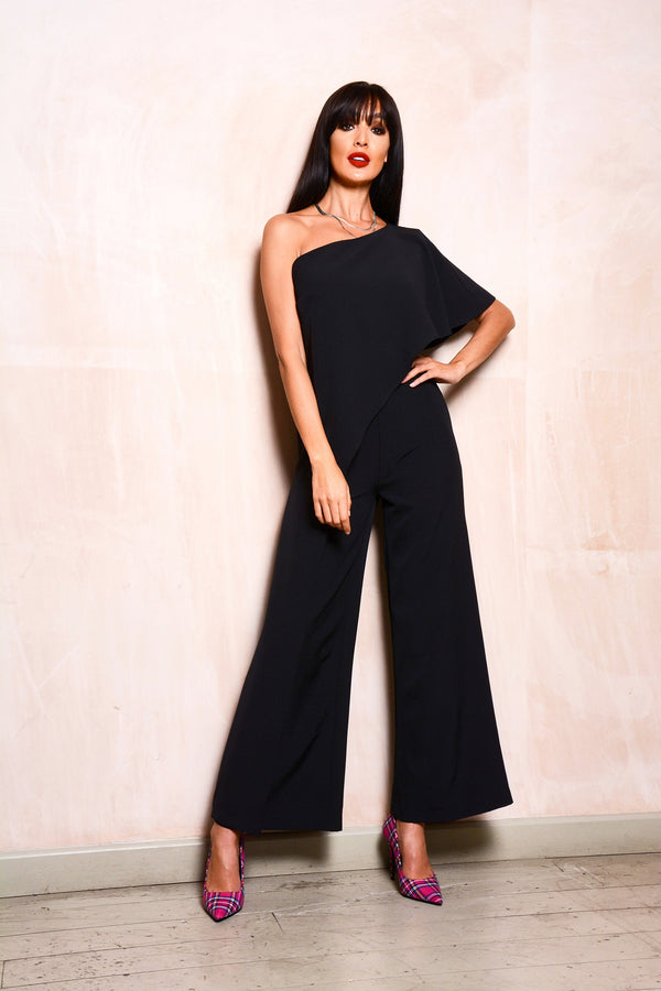 Black One Shoulder Waterfall Frill Jumpsuit