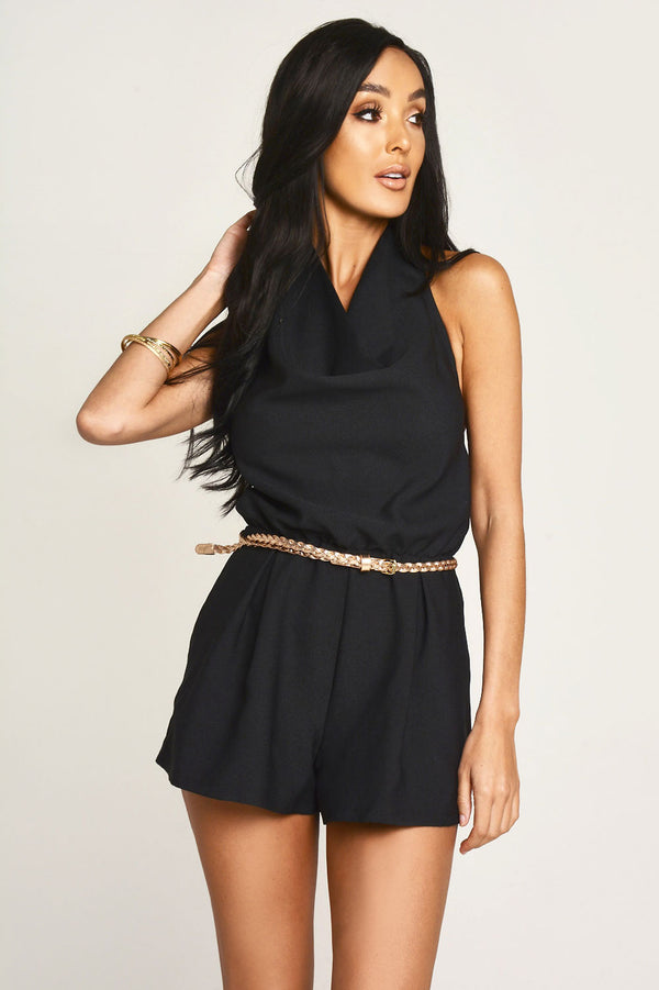 Black Halter Neck Playsuit