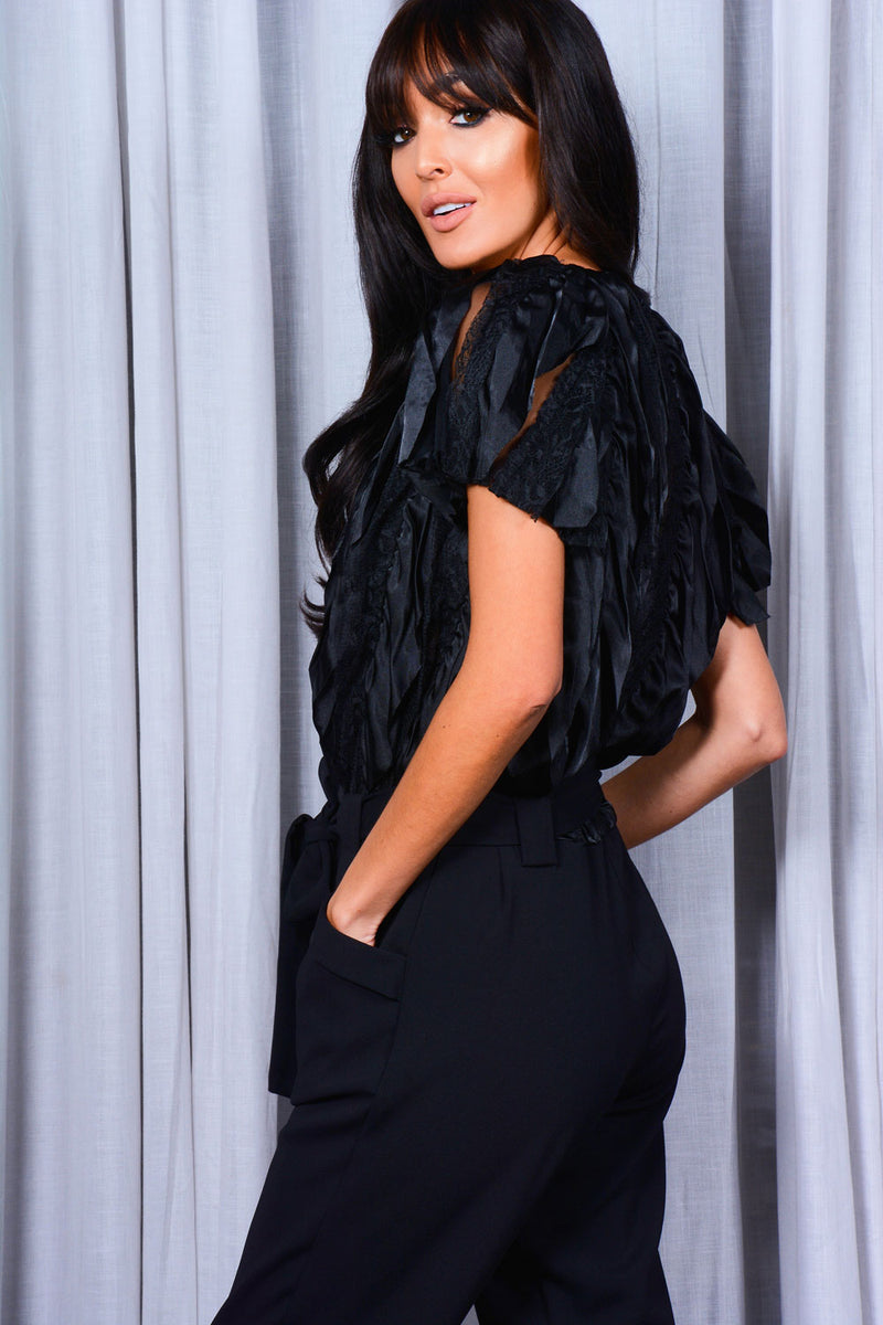 Black Lace and Satin Frill jumpsuit