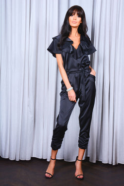 Black Satin Frill Jumpsuit