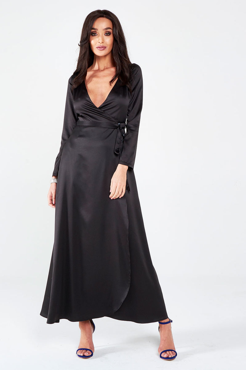 Black Satin Wrap Around Maxi Dress