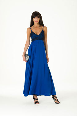 Blue Lace Satin Maxi Evening Dress