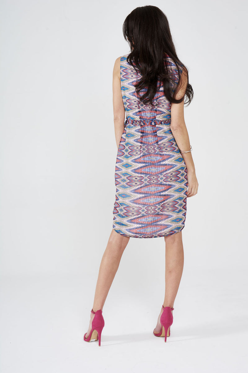 Chiffon Printed Wrap Around Dress