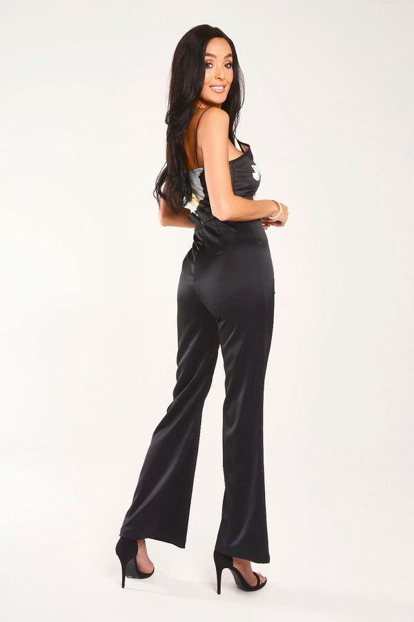 Floral Print and Black wide Leg Jumpsuit With Frill Waist