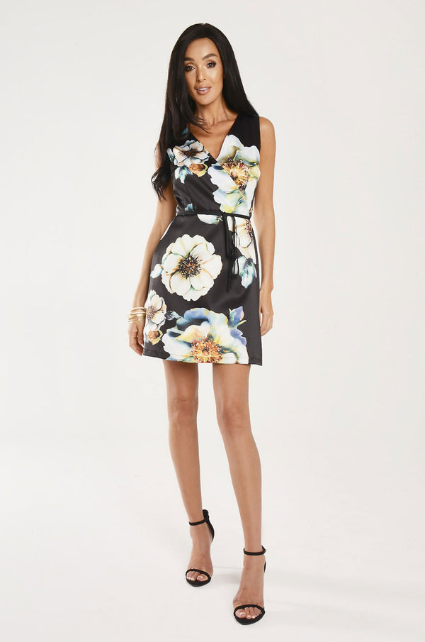 Floral Print Wrap Around Dress