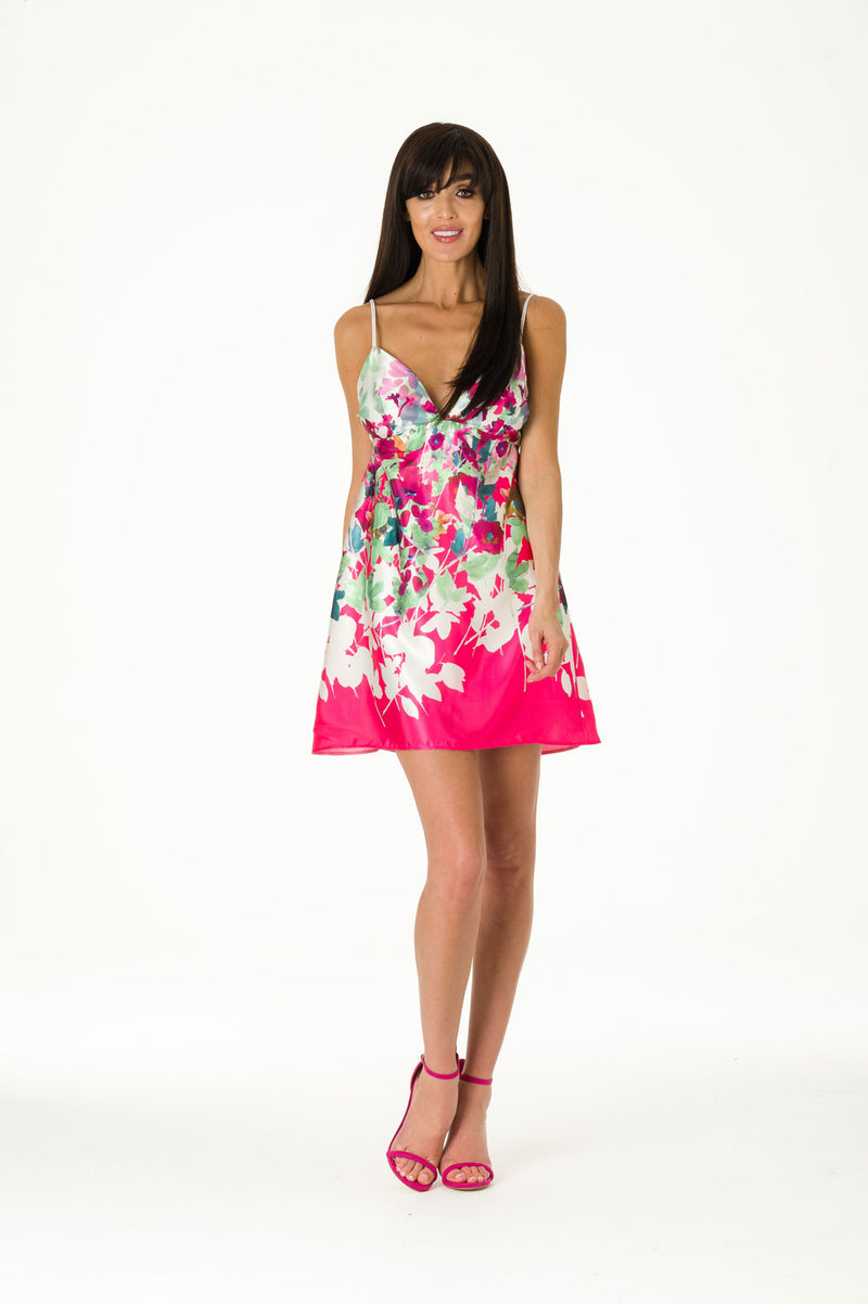 Floral Satin Printed Dress