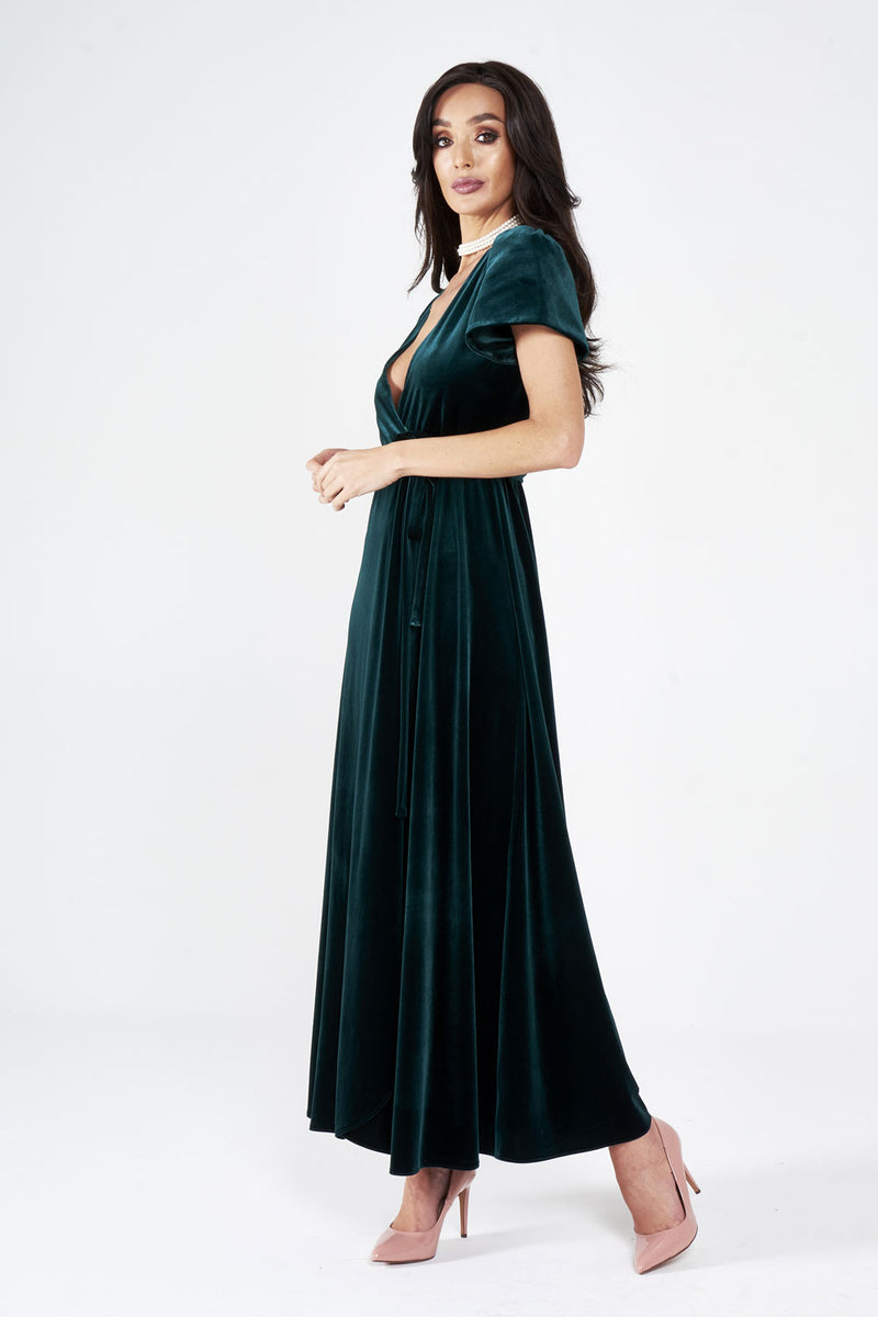 Green Velour Maxi Dress