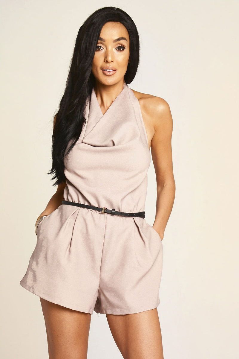 Mocha Halter Neck Playsuit