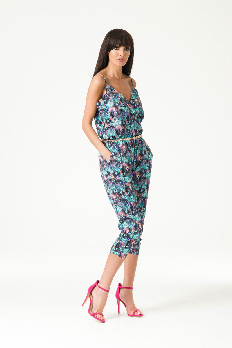 Printed Cross Over Jumpsuit
