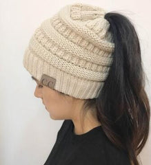 Messy Bun Soft Knitted Ponytail Beanie