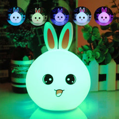 LED Kawaii Rabbit Panda Chicken Bear Silicone Baby Nursery Desk Lamp Touch Sensor Tap Control USB Rechargeable Night Table Light