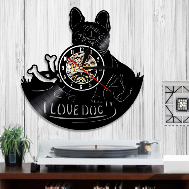 I Love Dog! 3D Vinyl Record Wall Clock