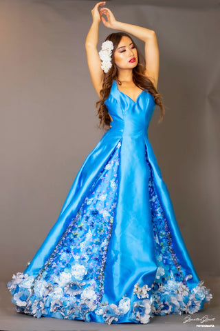 "Rental ""Blue Lilies Fairytale Gown"""