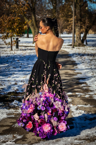 Image of Jardin d'amour Black high-low hem Gown