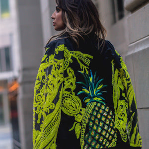 "Rental ""Crave Me Hand Painted Pineapple Denim Jacket"""