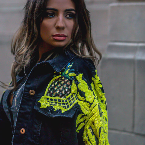 "Image of Rental ""Crave Me Hand Painted Pineapple Denim Jacket"""