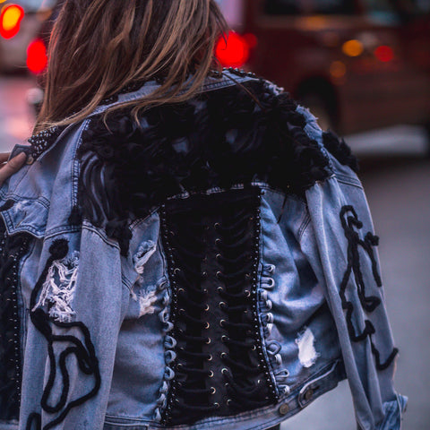 Risk It All Corset Brocade Denim Jacket
