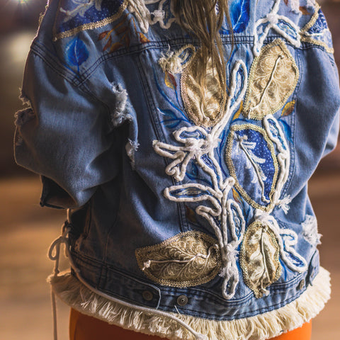 Lasso and Leaf Blue Denim Jacket