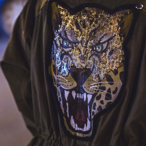 Image of Glamour Huntress Leopard Appliqué Dolman Jacket