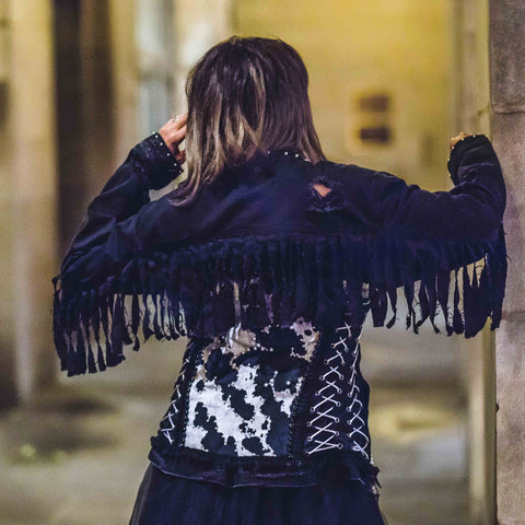 "Image of Rental ""Night Wrangler Dark Denim Fringe Jacket"""