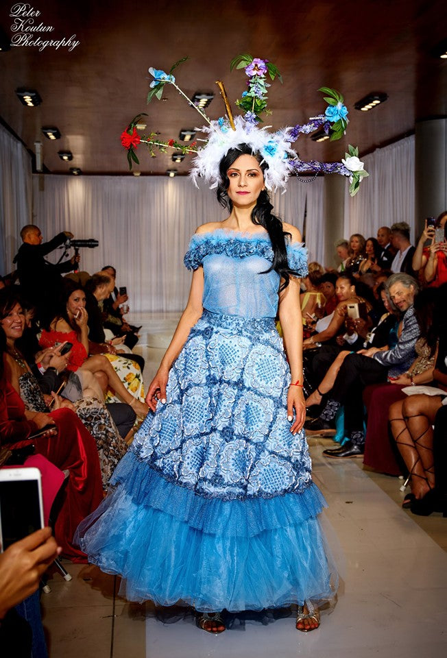 Caribbean Catharsis Off the Shoulder Crystal Gown