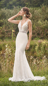 Lillian West 66136 Allover Lace Gown with Trim Detail and Shaped Train
