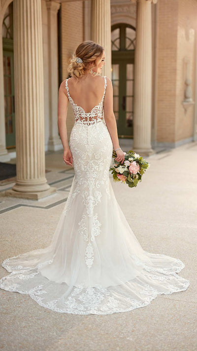 Stella York Mixed Fabric Bridal Gown with Double Waist Band 6914