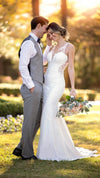 Stella York Modern Crepe Wedding Dress with Scalloped Train 6916