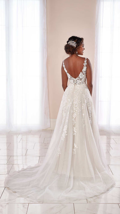 Romantic Stella York Floral Wedding Dress with Sheer Train 7073