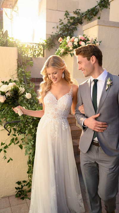 Stella York Whimsical Wedding Dress with French Lace 7083