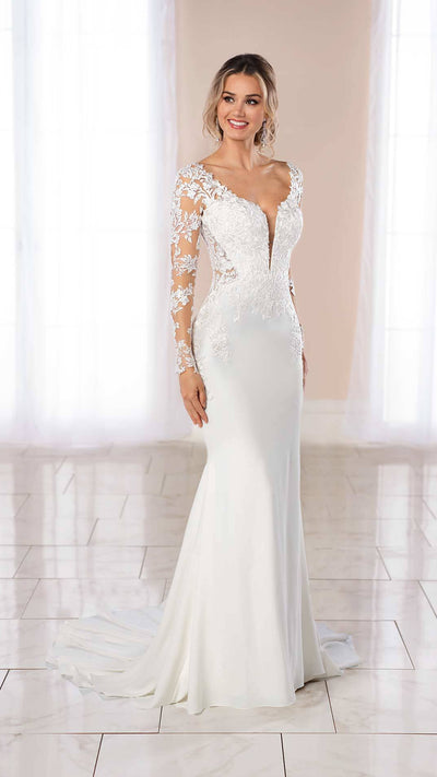 Lace and Crepe Wedding Gown With Side Cut-Outs Stella York 6994