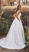 Justin Alexander Alina 88136 Mikado Ball Gown with Box Pleats and Cummerbund