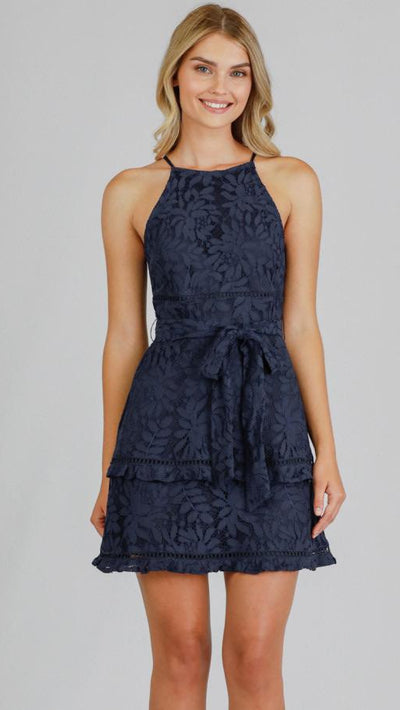 Navy lace halter mini dress ADR1031B