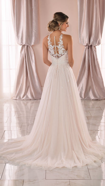Stella York Boho Wedding Dress with Floral Lace Neckline 6888