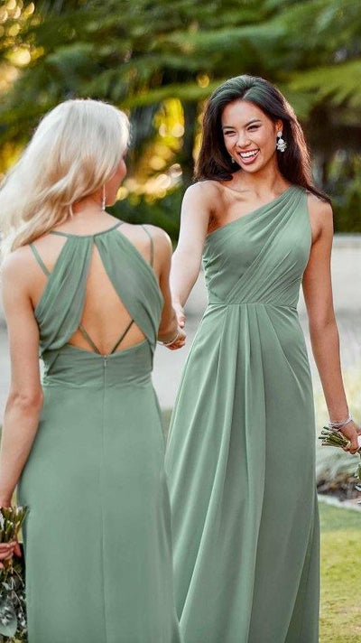 Simple One-Shoulder Bridesmaid Dress With Ruching - Sorella Vita 9296