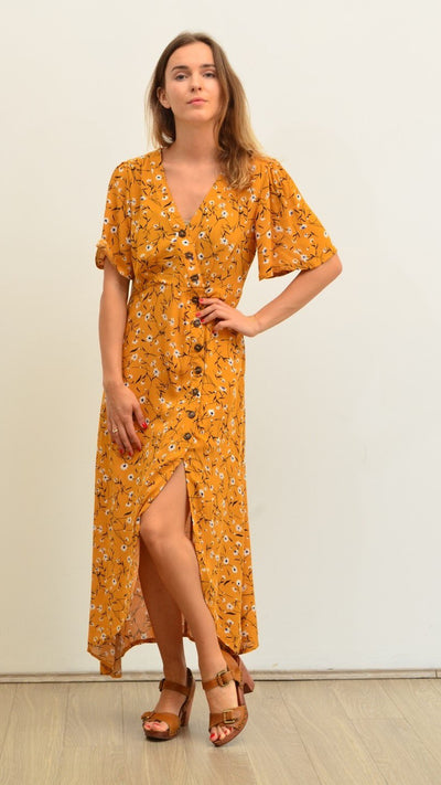 Mustard Off-Centre Button Up Dress