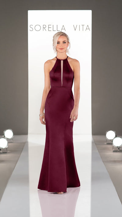 Chic and Modern Bridesmaid Dress with Micro-plunge 9256