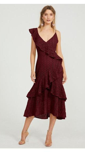 Cooper St Oasis One Shoulder Frill Lace Dress