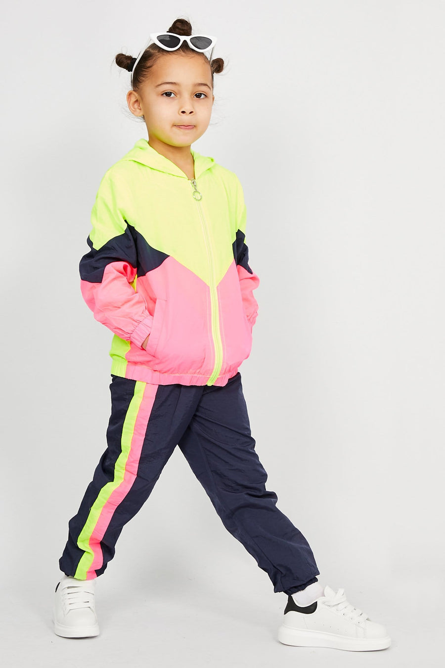 Penny Sport Zip Tapered Tracksuit Neon/Pink