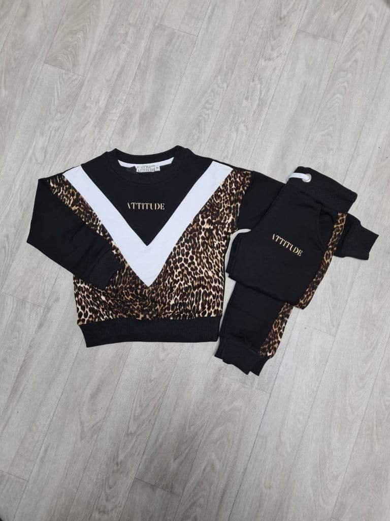 Imani Leopard Print Attitude Embroidered Soft Tapered Tracksuit