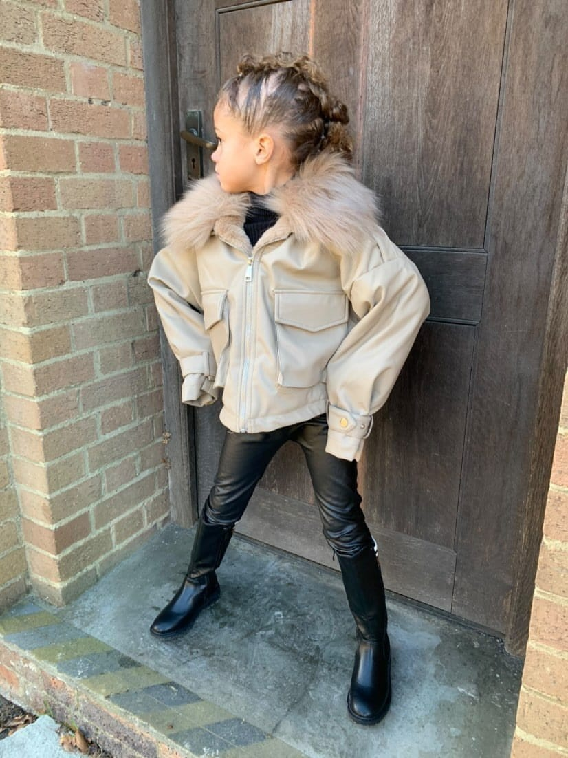 Verity Faux Leather Fur Bomber Jacket With Fur Collar in Stone