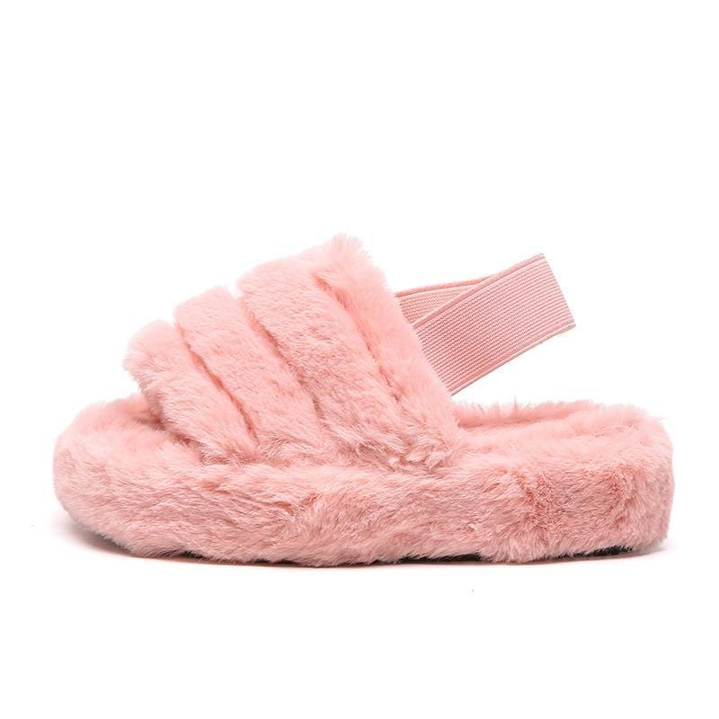 Kinsley Fluffy Stripe Slipper With Strap in Pink Faux Fur