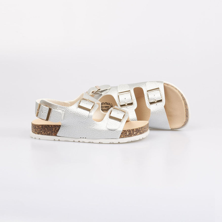 Coco Milan Buckle Strap Sandals Silver - Little Attitude