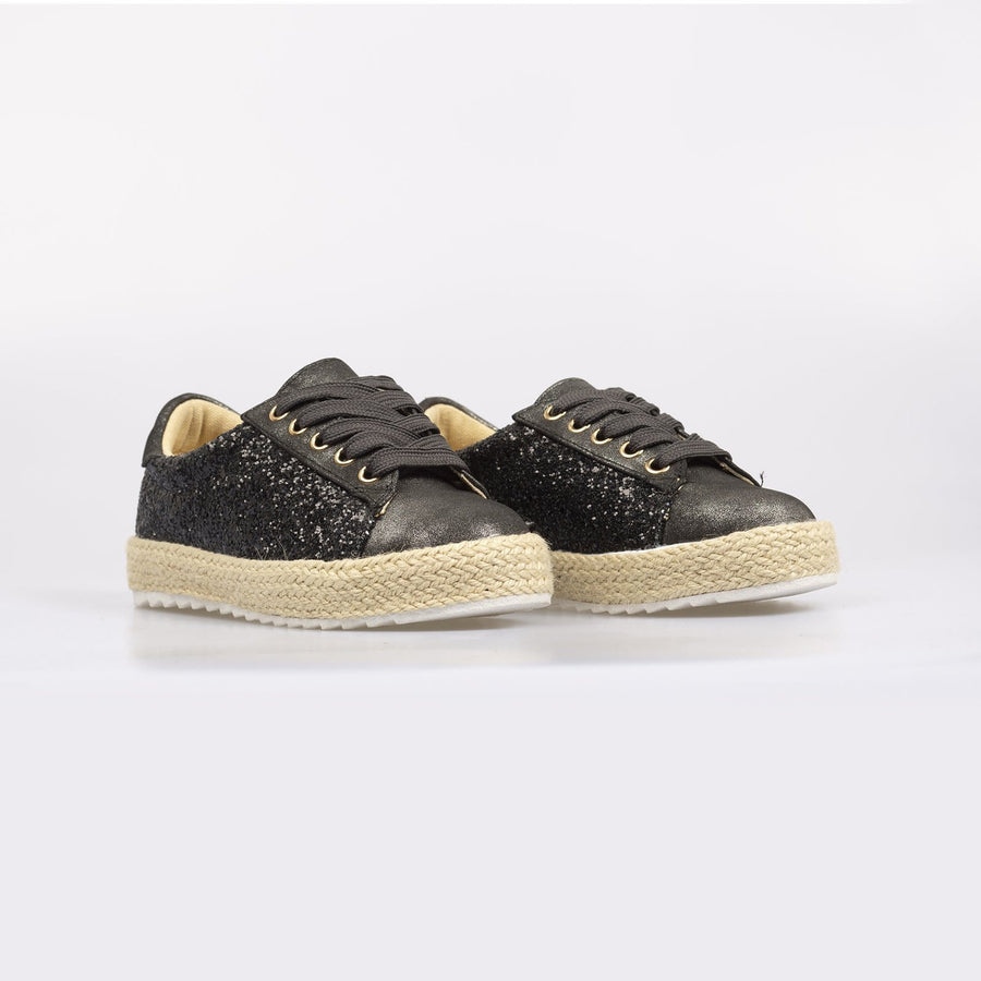 Sophia Glitter Splash Espadrille Black - Little Attitude