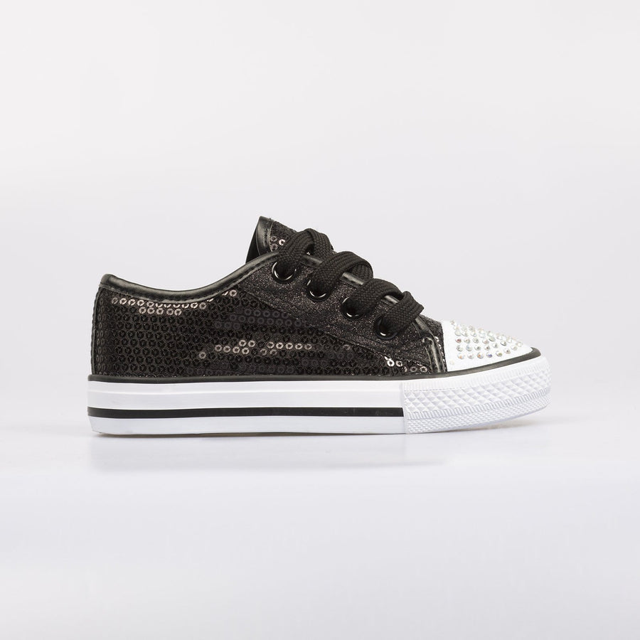Lola Sequin Sneakers Black - Little Attitude