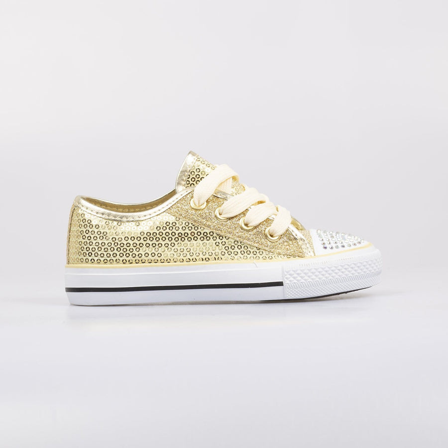 Lola Sequin Sneakers Gold - Little Attitude