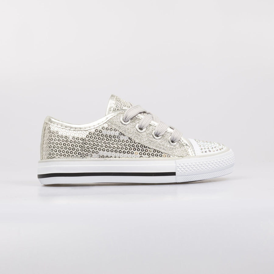 Lola Sequin Sneakers Silver - Little Attitude