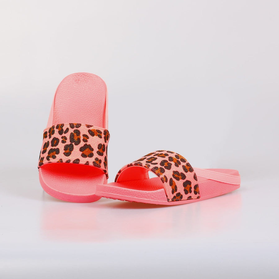 Chicago Leaopard Print Neon Sliders Pink - Little Attitude