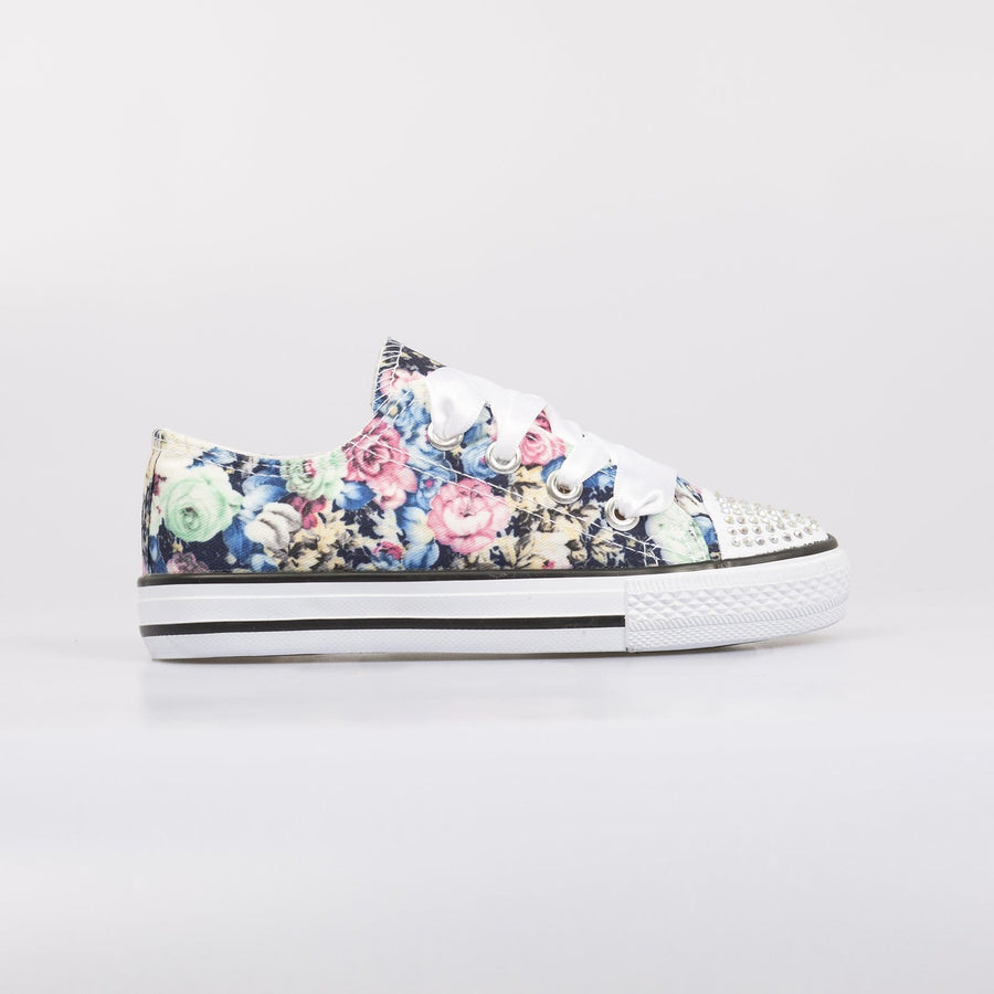 Daisy Ribbon Diamante Toe Sneakers Flower Blue - Little Attitude