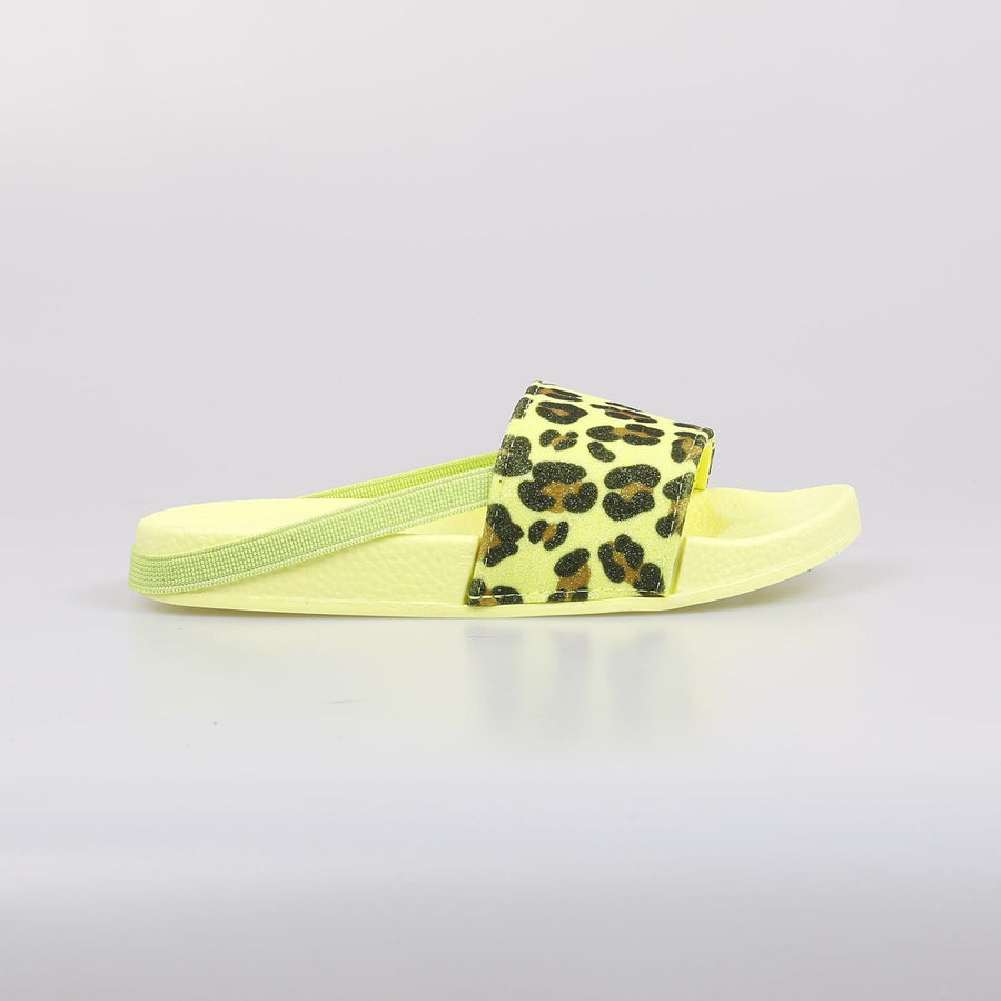 Chicago Leaopard Print Neon Sliders Lime - Little Attitude